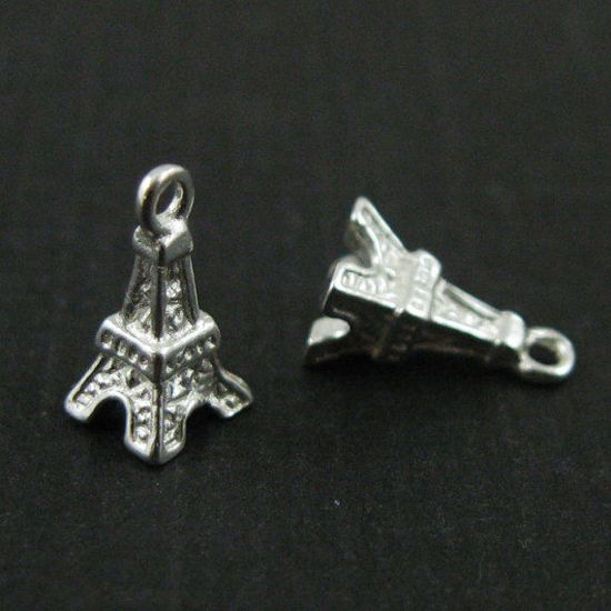 925 Sterling Silver Charm -Tiny Silver Eiffel Tower Charm -9mm ( 3 pc)