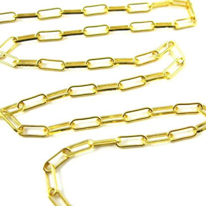 22K Gold plated over Sterling Silver 2.5X6.5mm Rectangle Box Chain. Unfinished Bulk Chain for Jewelry Making. Sold by the foot