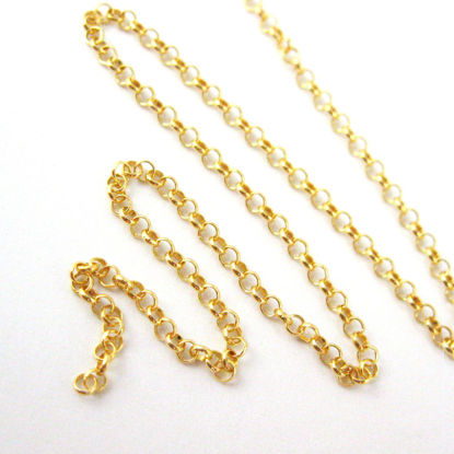 22K Gold over Sterling Silver 2mm rolo Chain - Gold Plated over Sterling Silver Chain - 2mm Rolo Chain. Bulk Unfinished By the Foot