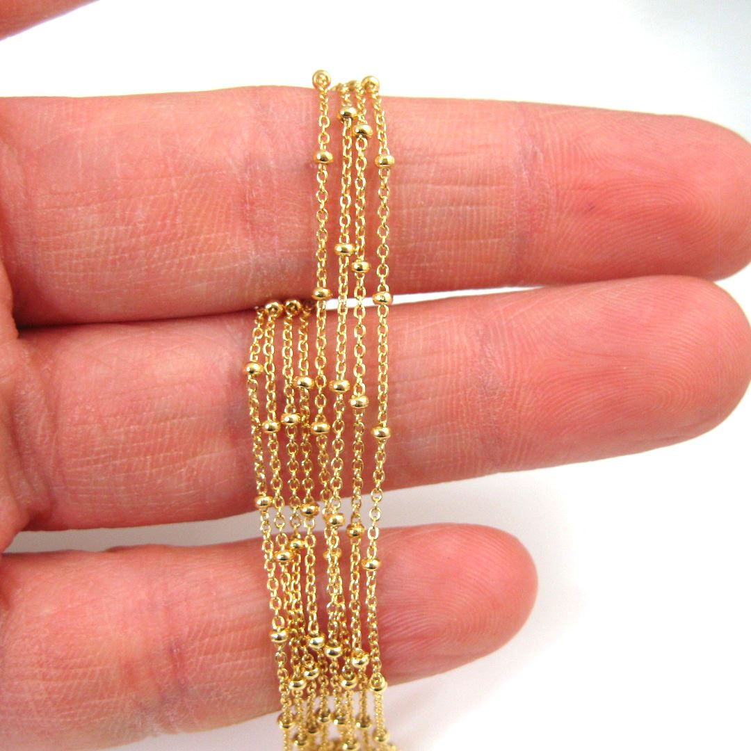 22k Gold Plated over Sterling Silver Chain-Satellite Chain, Beaded Chain - 1.4X1.6 Cable Oval+Ball Chain - Vermeil Wholesale Unfinished Bulk Chain (Sold per foot)