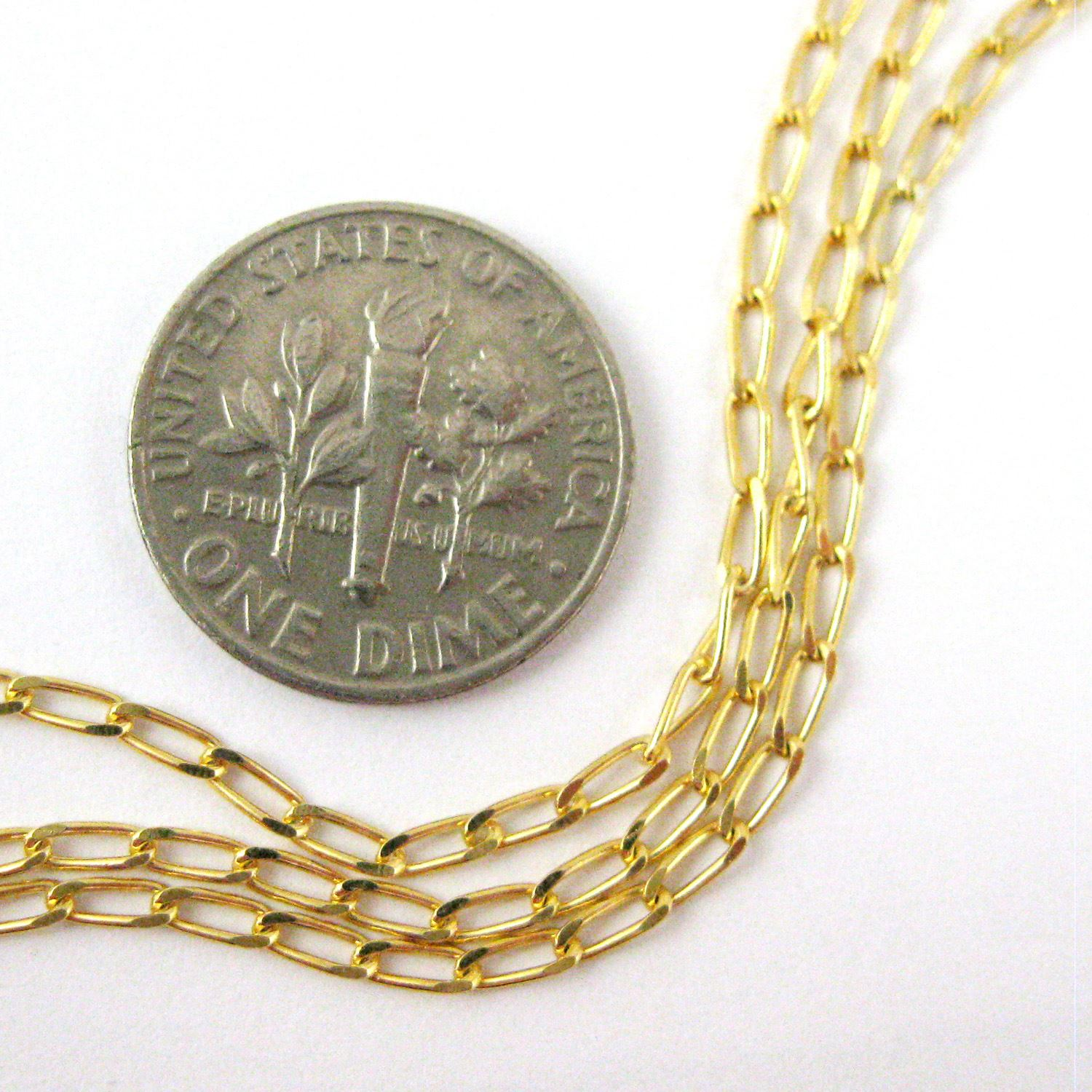 22K Gold Plated over Sterling Silver Chain- Vermeil Chain, Gold Plated Bulk Chain - 4mm Diamond Cut Curb Chain - Unfinished Bulk Chain (sold per foot)