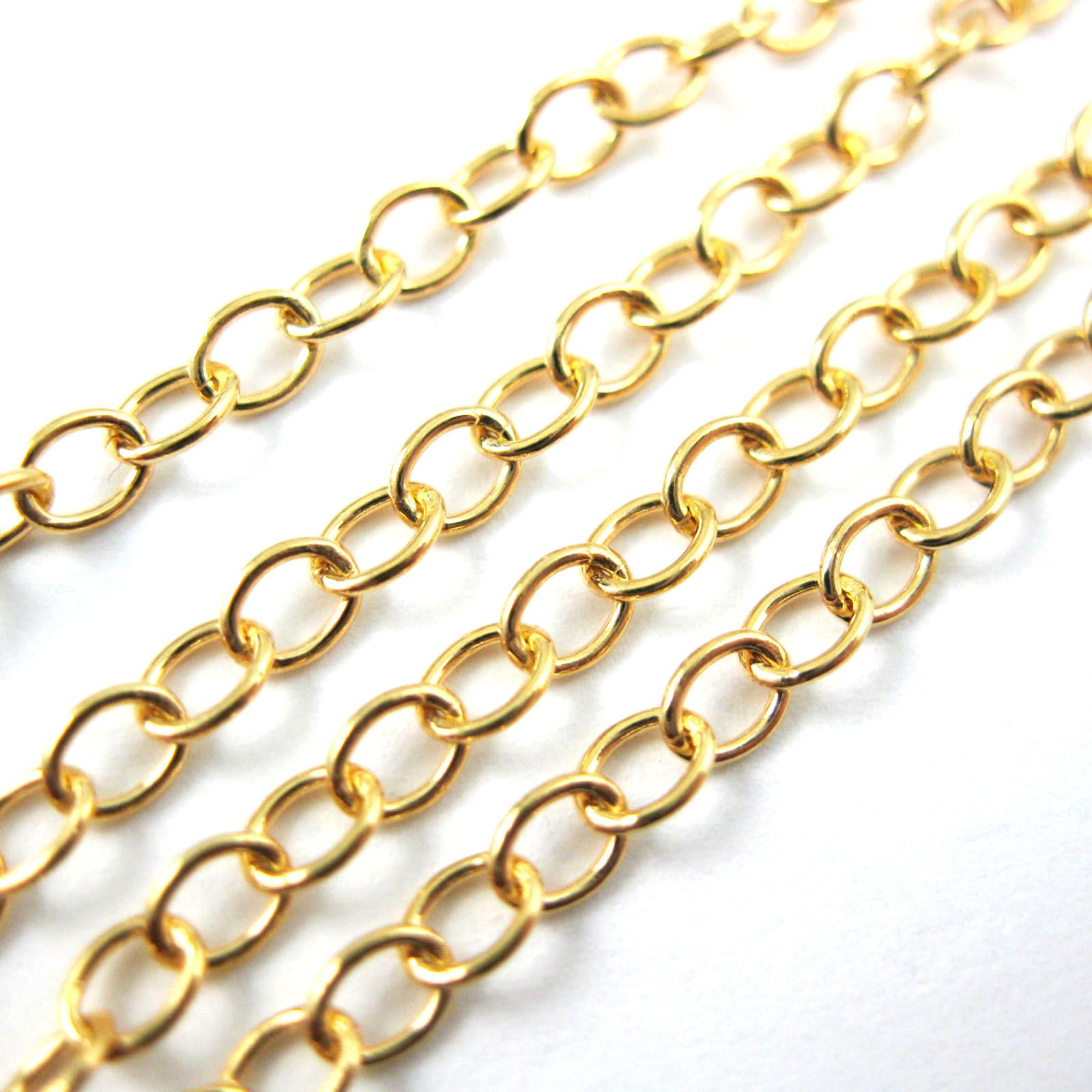 22k Gold Plated over Sterling Silver Vermeil, Unfinished Bulk Chain - Cable Oval - Cable Chain - Gold Plated Chain