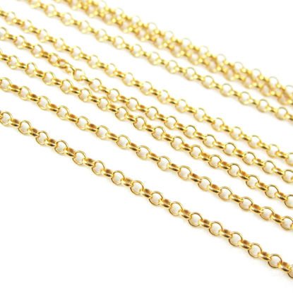 22K Gold plated over Sterling Silver Chain - Rolo Chain-Unfinished Bulk Chain -1mm Rolo Chain
