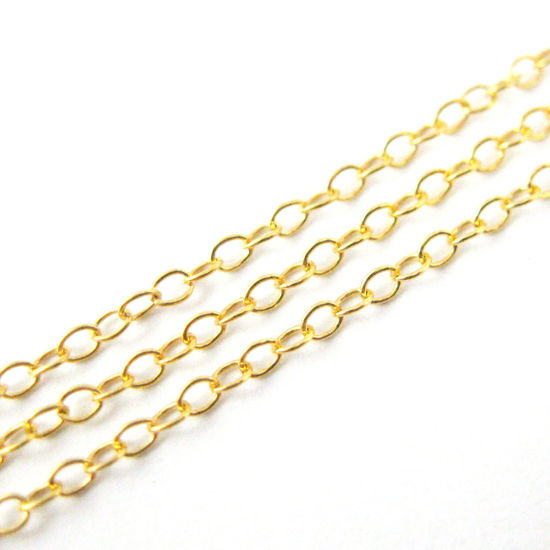 22k Gold Plated over Sterling Silver Chain, Vermeil 925 Sterling Silver Bulk Chain - 2 by 1.5mm Cable Oval (sold per foot)