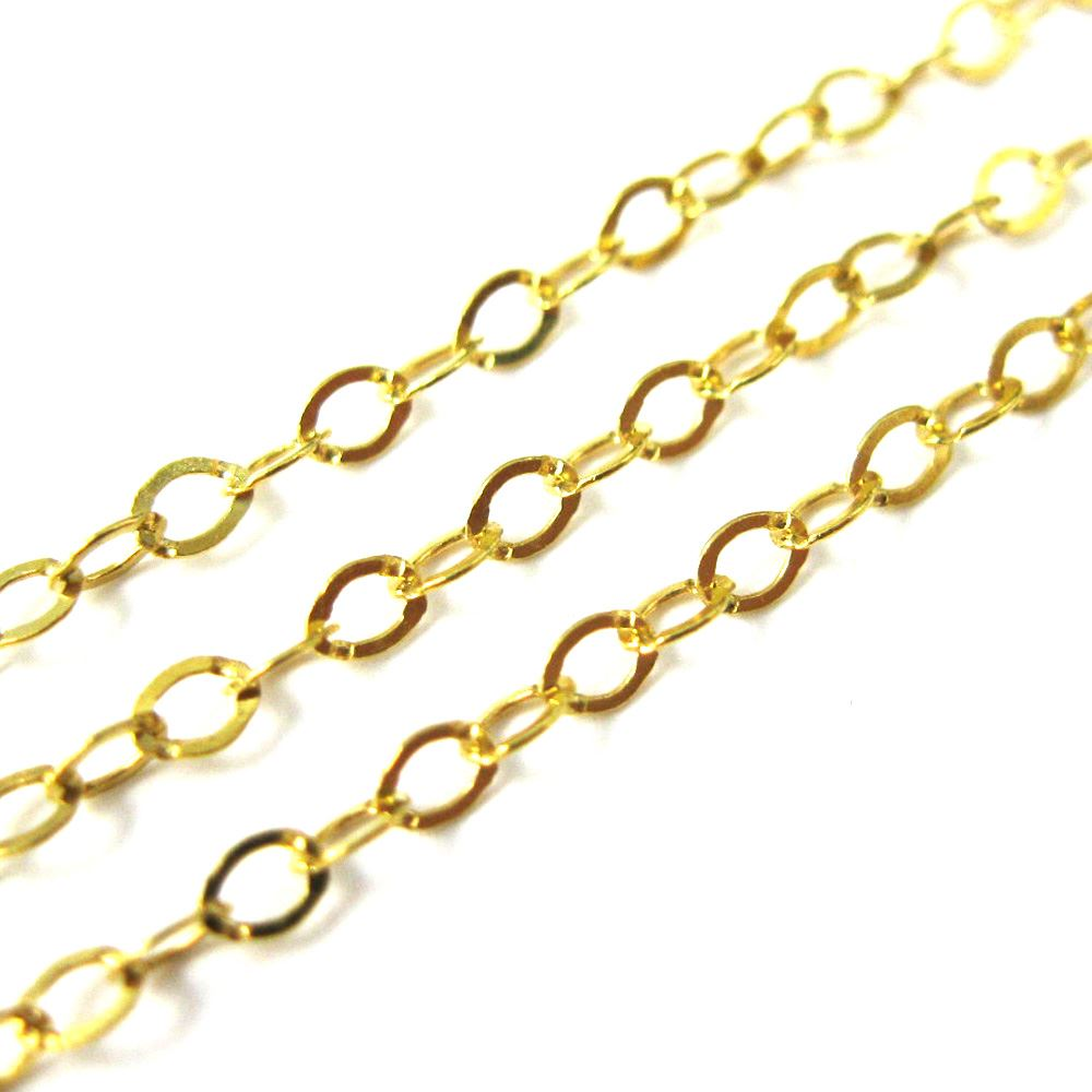 Wholesale 12 PCS Gold Plated Brass Flat Cable Chain Finished Necklace Chains Bulk for Necklace Making 2 MM 24 Inch