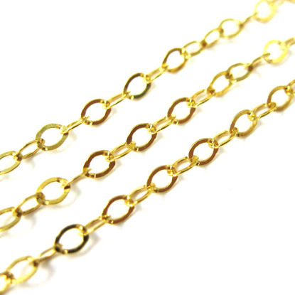 22k Gold plated over 925 Sterling Silver Chain, Unfinished Bulk Chain, Cable Flat Oval, Cable Chain -2.5 by 2mm