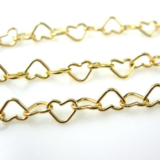 Gold Chain, Vermeil Sterling Silver Chain - 5X5 Heart Chain Link - Unfinished Chain, Wholesale Bulk Chains - Heart Chain (sold per foot)