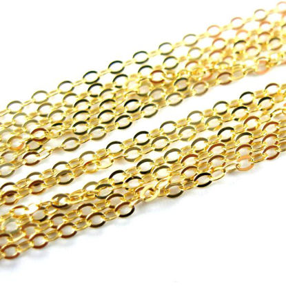 Gold Plated Chain - Vermeil Flat Cable Oval Chain 2mm - Unfinished Chains, Bulk Chains (Sold Per Foot)