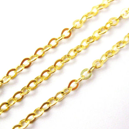 22K Gold plated Sterling Silver Chain - Strong Flat Cable 2.3mm - Unfinished Chains, Bulk Chains  (Sold Per Foot)