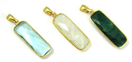 Rectangle Gemstone Pendants