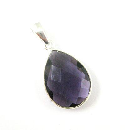 Bezel Gemstone Pendant with Bail - Sterling Silver Teardrop Gem Pendant - Ready for Necklace - 29mm - Amethyst Quartz
