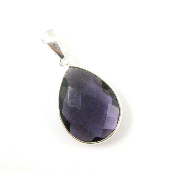 Bezel Gemstone Pendant with Bail - Sterling Silver Teardrop Gem Pendant - Ready for Necklace - 29mm - Amethyst Quartz