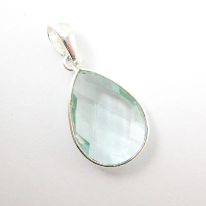 Bezel Gemstone Pendant with Bail - Sterling Silver Teardrop Gem Pendant - Ready for Necklace - 29mm - Aqua Quartz