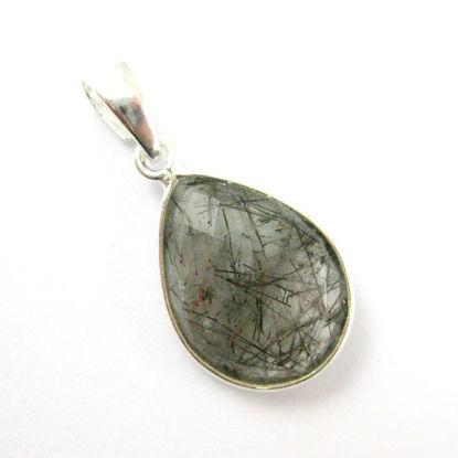 Bezel Gemstone Pendant with Bail - Sterling Silver Teardrop Gem Pendant - Ready for Necklace - 29mm - Black Rutilated Quartz