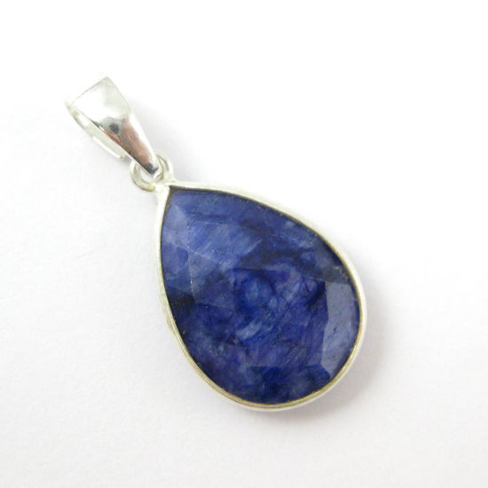 Bezel Gemstone Pendant with Bail - Sterling Silver Teardrop Gem Pendant - Ready for Necklace - 29mm - Blue Sapphire Dyed