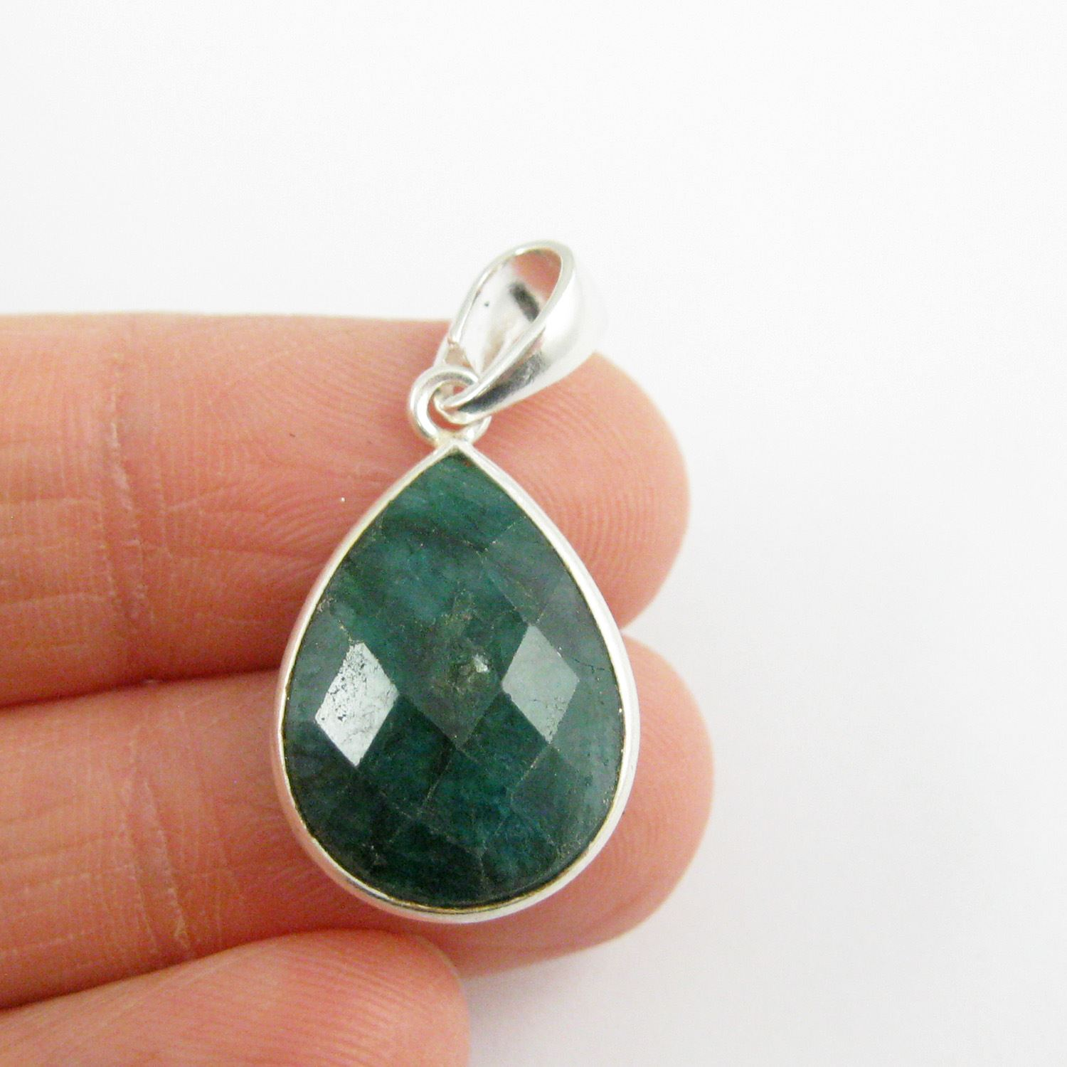 Bezel Gemstone Pendant with Bail - Sterling Silver Teardrop Gem Pendant - Ready for Necklace - 29mm - Emerald Dyed