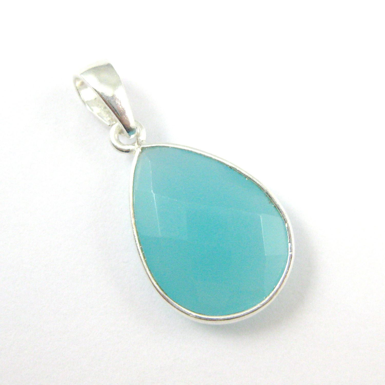 Bezel Gemstone Pendant with Bail - Sterling Silver Teardrop Gem Pendant - Ready for Necklace - 29mm - Peru Chalcedony