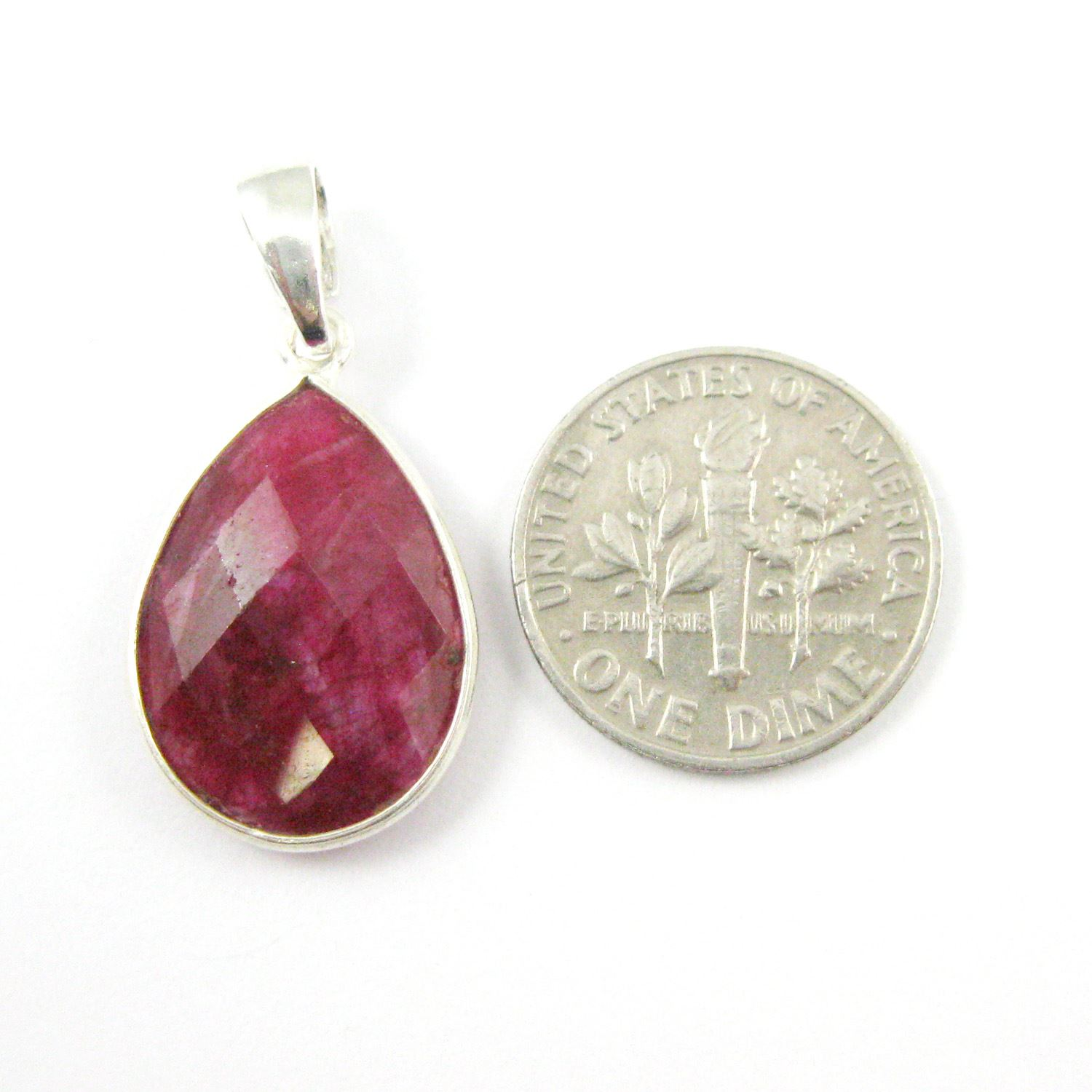 Bezel Gemstone Pendant with Bail - Sterling Silver Teardrop Gem Pendant - Ready for Necklace - 29mm - Ruby Dyed