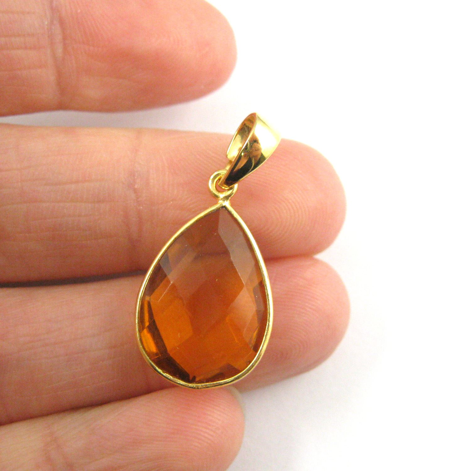 Bezel Gemstone Pendant with Bail -Gold plated Sterling Silver Teardrop Gem Pendant - Ready for Necklace - 29mm - Citrine Quartz