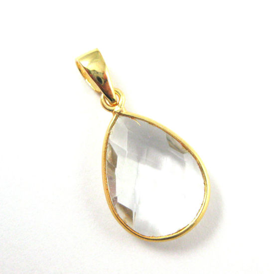 Bezel Gemstone Pendant with Bail -Gold plated Sterling Silver Teardrop Gem Pendant - Ready for Necklace - 29mm -Crystal Quartz