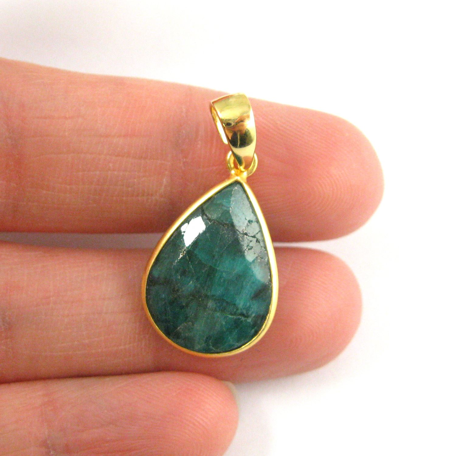 Bezel Gemstone Pendant with Bail -Gold plated Sterling Silver Teardrop Gem Pendant - Ready for Necklace - 29mm - Emerald Dyed