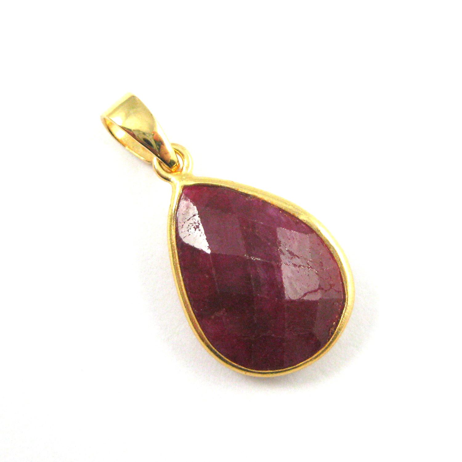 Bezel Gemstone Pendant with Bail -Gold plated Sterling Silver Teardrop Gem Pendant - Ready for Necklace - 29mm - Ruby Dyed