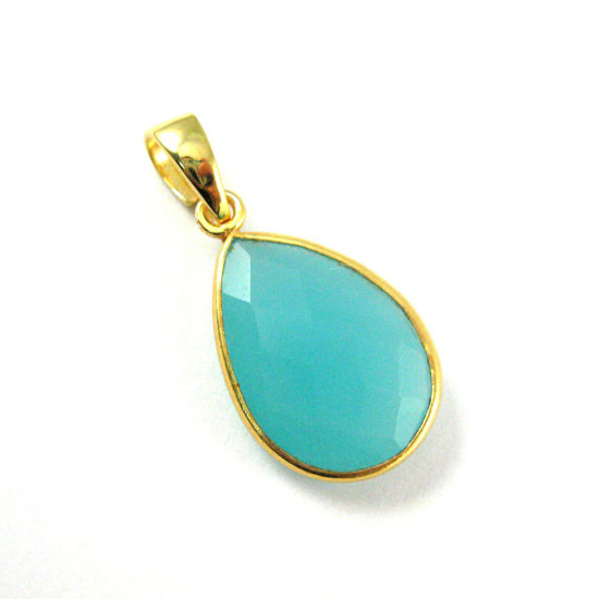 Bezel Gemstone Pendant with Bail -Gold plated Sterling Silver Teardrop Gem Pendant - Ready for Necklace - 29mm - Peru Chalcedony