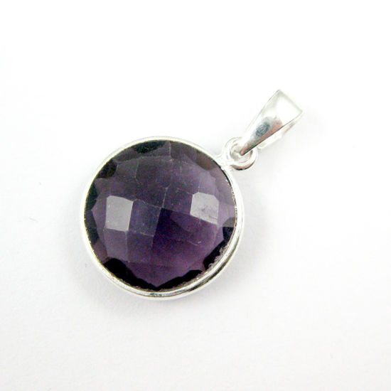 Bezel Gemstone Pendant with Bail - Sterling Silver Round Gem Pendant - Ready for Necklace - 24mm- Amethyst Quartz
