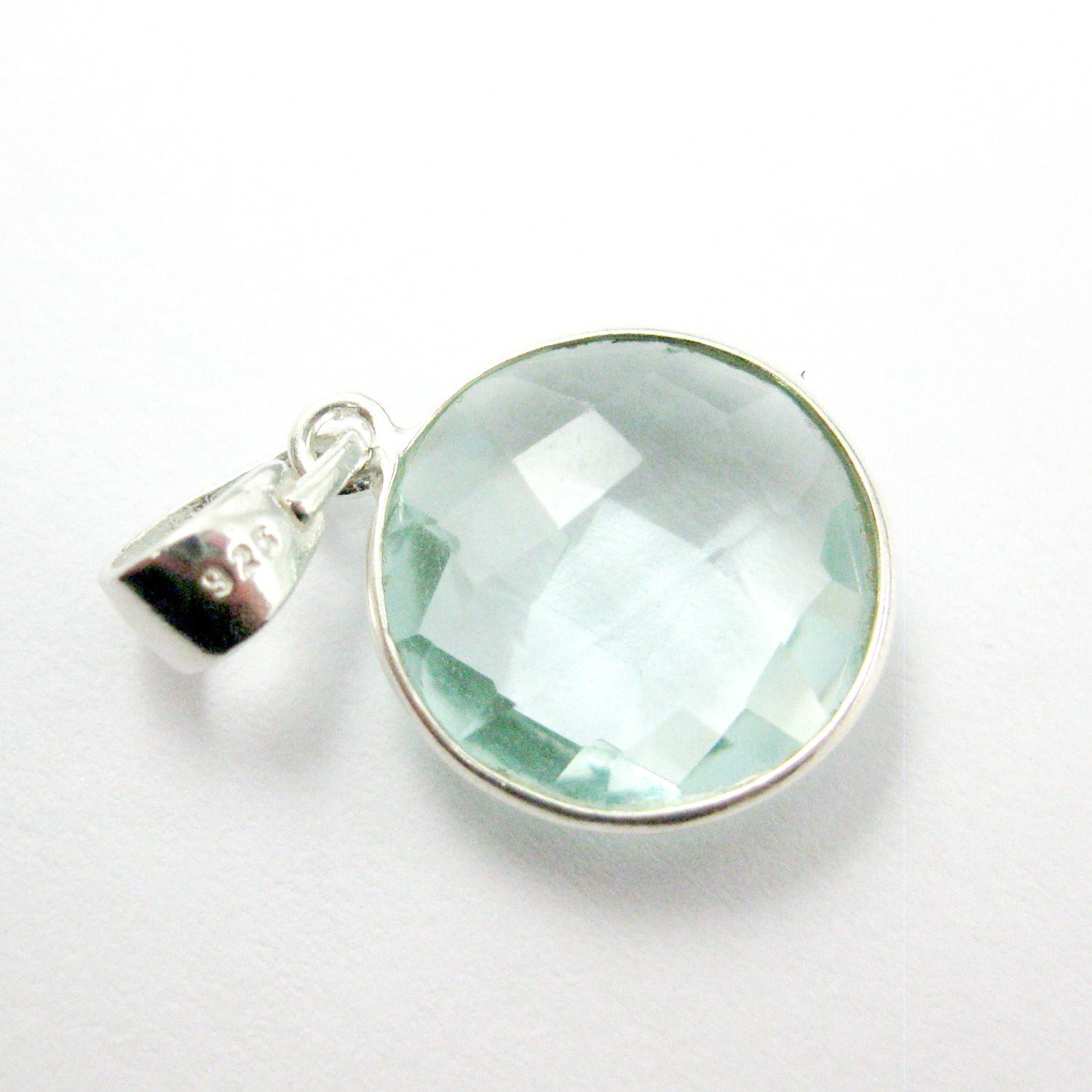 Bezel Gemstone Pendant with Bail - Sterling Silver Round Gem Pendant - Ready for Necklace - 24mm- Aqua Quartz