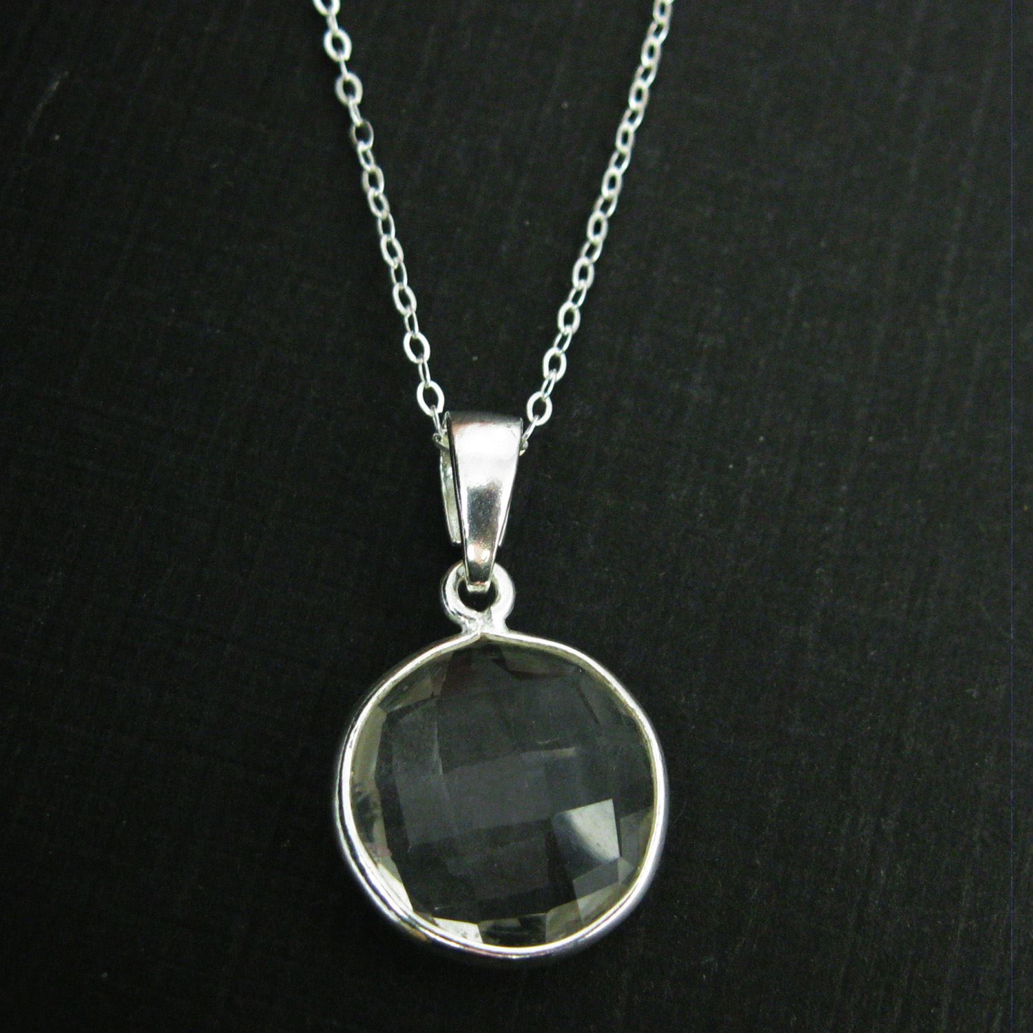 Bezel Gemstone Pendant with Bail - Sterling Silver Round Gem Pendant - Ready for Necklace - 24mm- Crystal Quartz