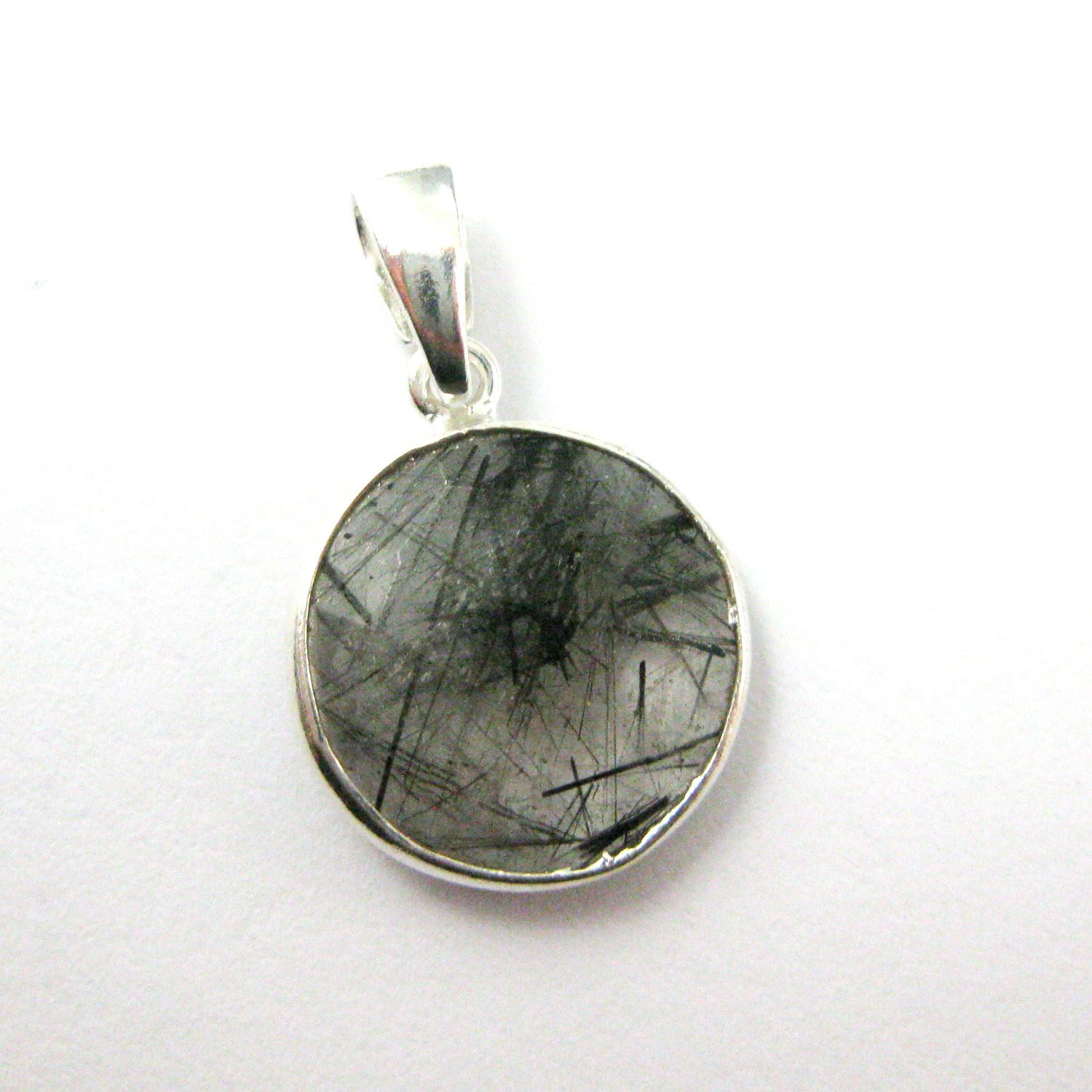 Bezel Gemstone Pendant with Bail - Sterling Silver Round Gem Pendant - Ready for Necklace - 24mm- Black Rutilated Quartz