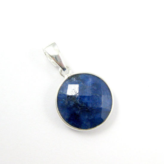 Bezel Gemstone Pendant with Bail - Sterling Silver Round Gem Pendant - Ready for Necklace - 24mm- Blue Sapphire Dyed