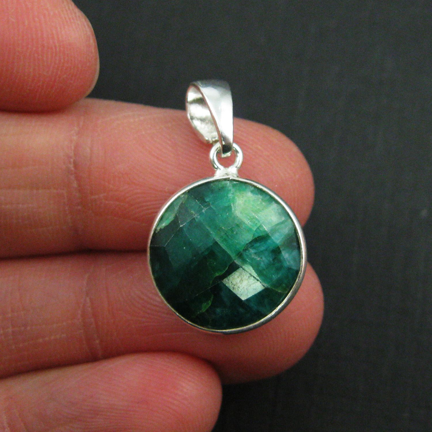 Bezel Gemstone Pendant with Bail - Sterling Silver Round Gem Pendant - Ready for Necklace - 24mm- Emerald Dyed