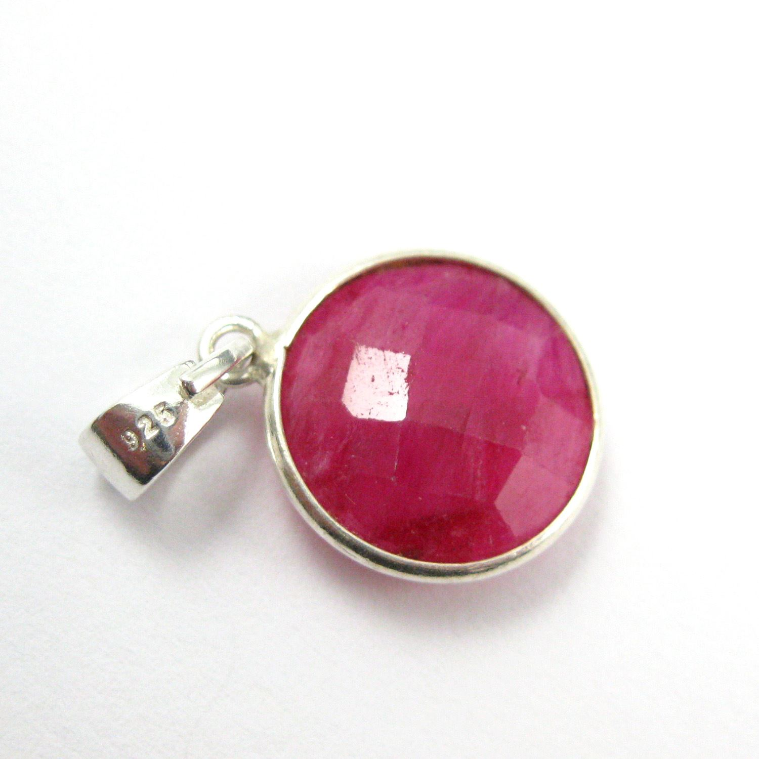 Bezel Gemstone Pendant with Bail - Sterling Silver Round Gem Pendant - Ready for Necklace - 24mm- Ruby Dyed