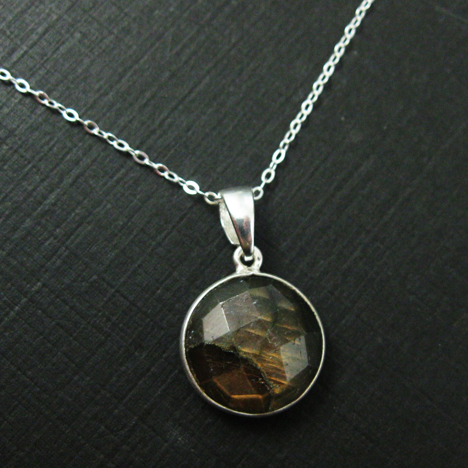 Bezel Gemstone Pendant with Bail - Sterling Silver Round Gem Pendant - Ready for Necklace - 24mm- Labradorite