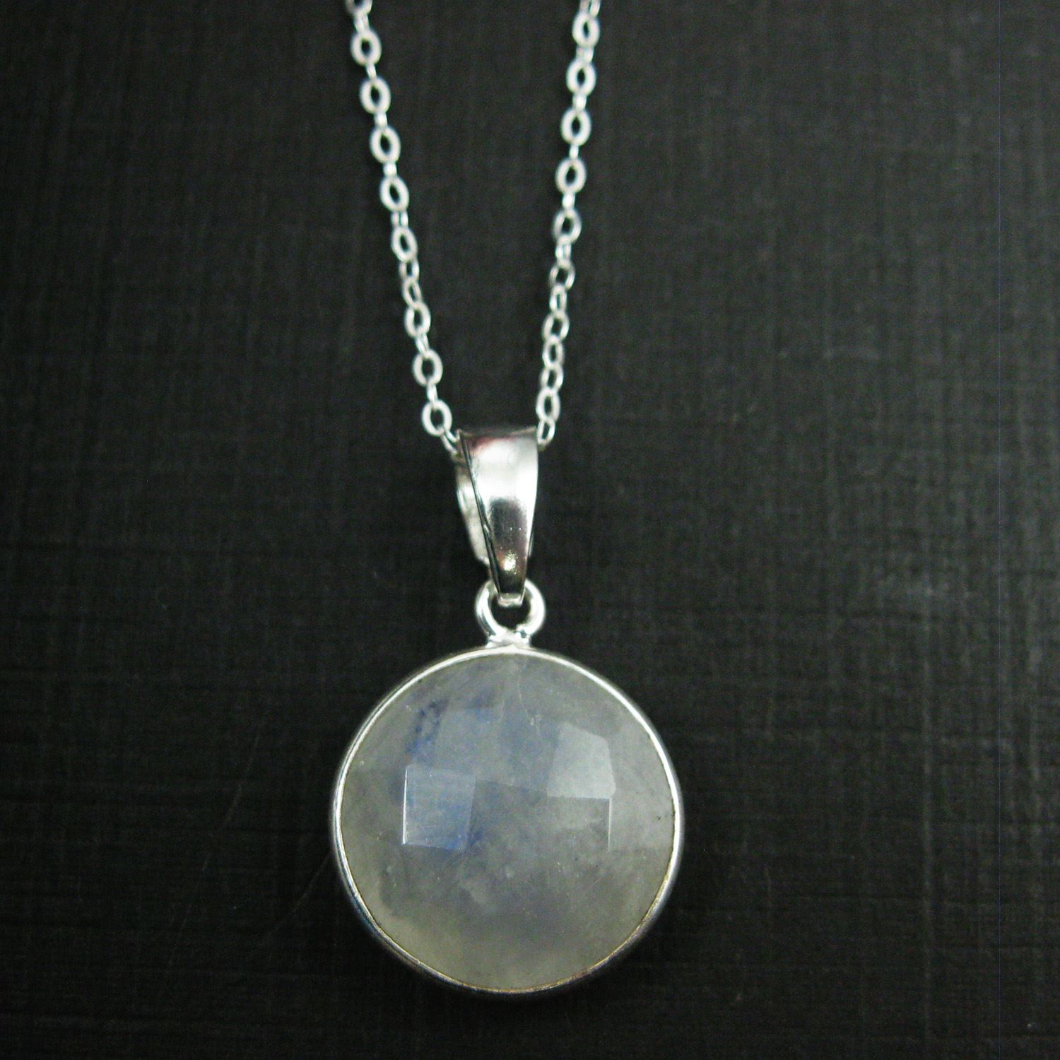 Bezel Gemstone Pendant with Bail - Sterling Silver Round Gem Pendant - Ready for Necklace - 24mm- Moonstone