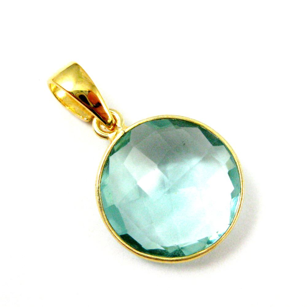 Bezel Gemstone Pendant with Bail - Gold plated Sterling Silver Round Gem Pendant - Ready for Necklace - 24mm- Aqua Quartz