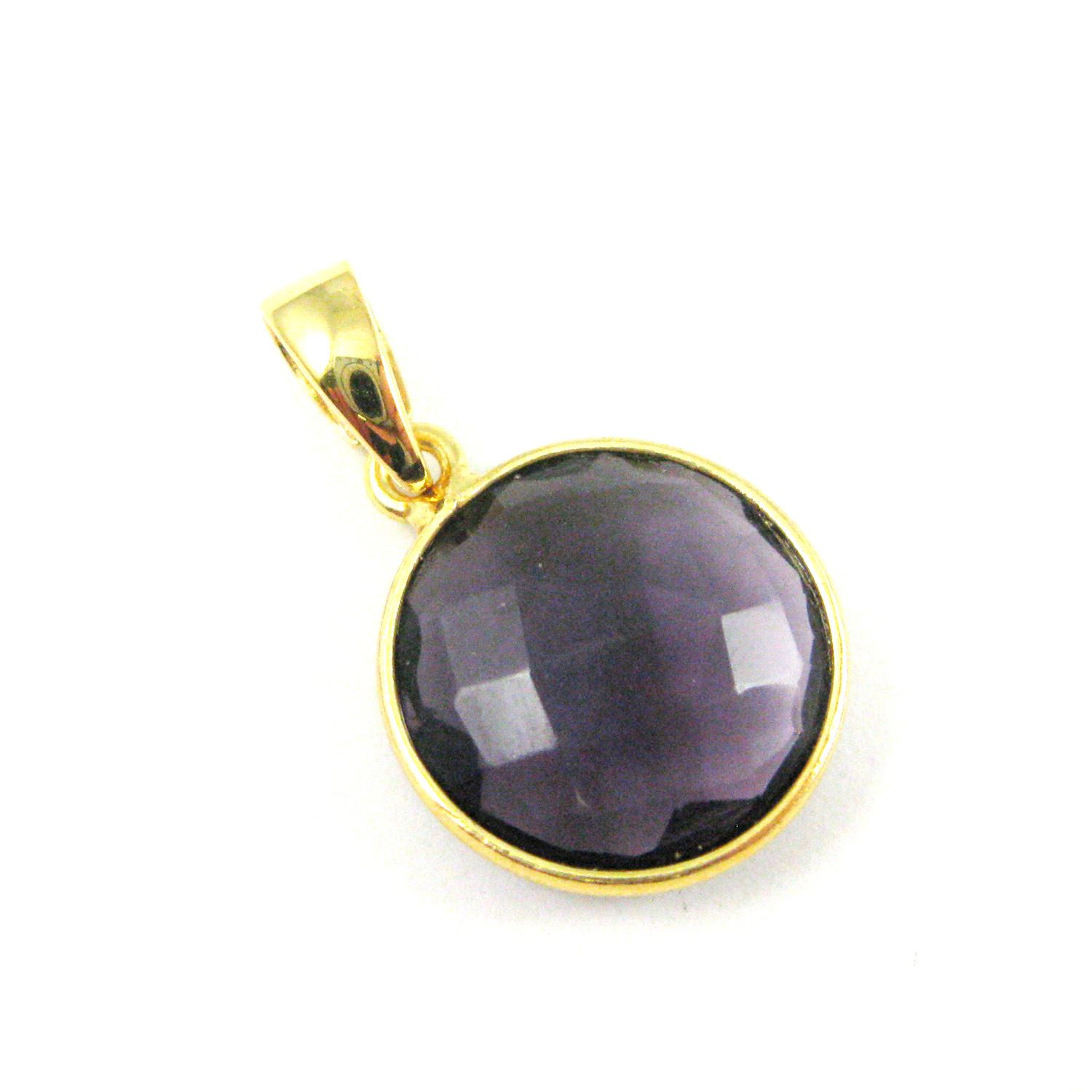 Bezel Gemstone Pendant with Bail - Gold plated Sterling Silver Round Gem Pendant - Ready for Necklace - 24mm- Amethyst Quartz