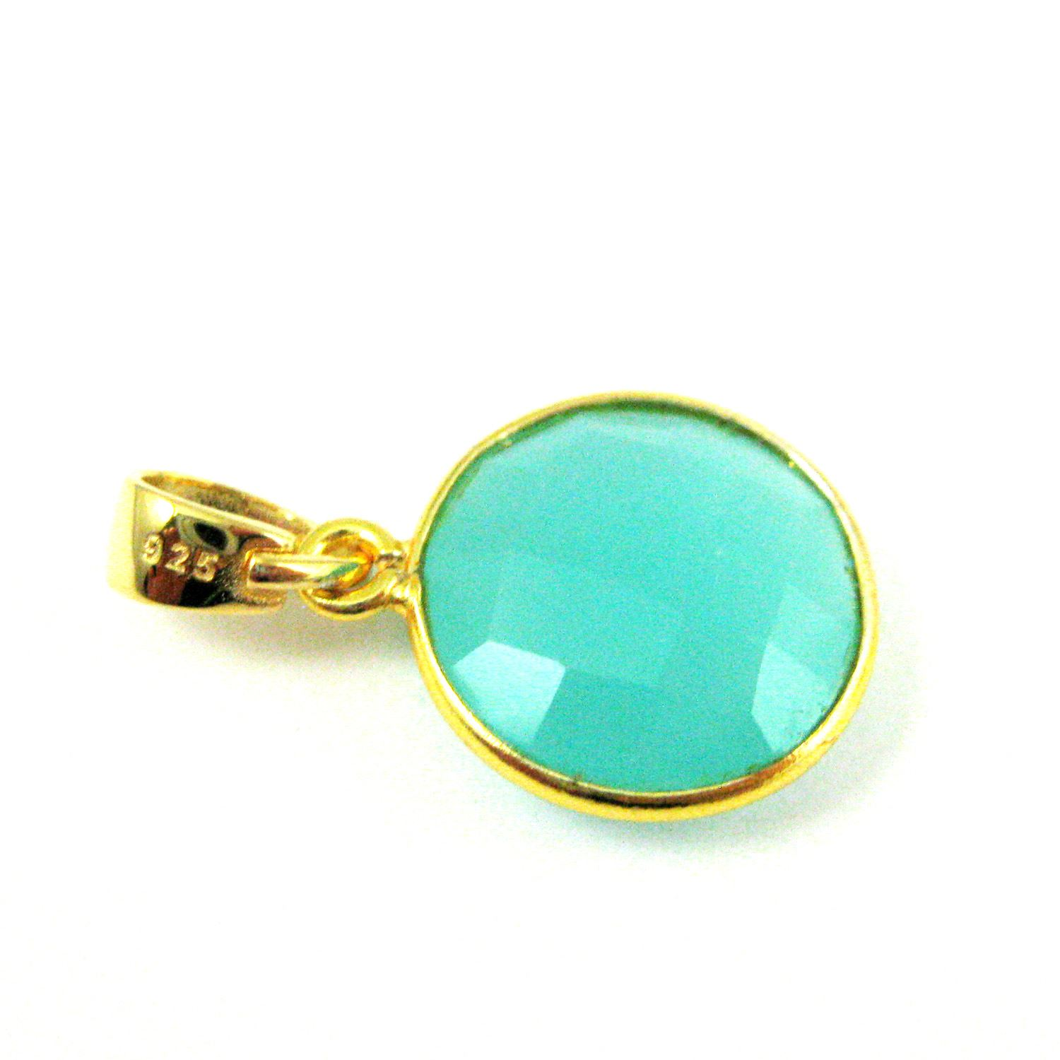 Bezel Gemstone Pendant with Bail - Gold plated Sterling Silver Round Gem Pendant - Ready for Necklace - 24mm- Peru Chalcedony