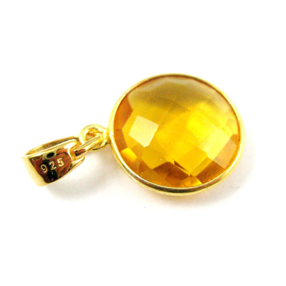 Bezel Gemstone Pendant with Bail - Gold plated Sterling Silver Round Gem Pendant - Ready for Necklace - 24mm- Citrine Quartz