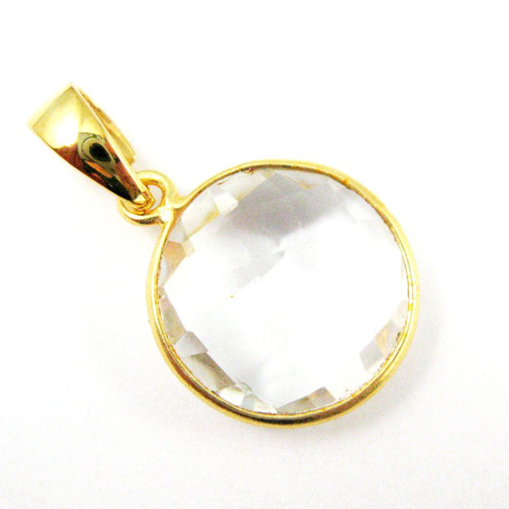 Bezel Gemstone Pendant with Bail - Gold plated Sterling Silver Round Gem Pendant - Ready for Necklace - 24mm- Crystal Quartz