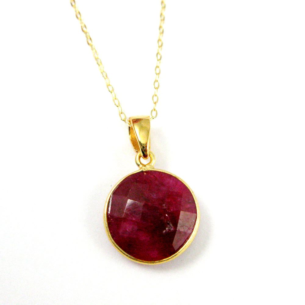 Bezel Gemstone Pendant with Bail - Gold plated Sterling Silver Round Gem Pendant - Ready for Necklace - 24mm- Ruby Dyed