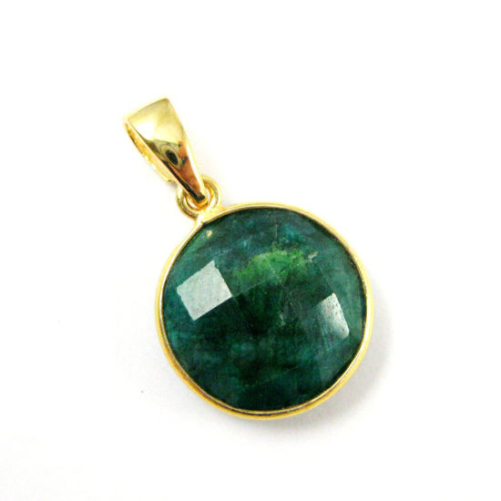 Bezel Gemstone Pendant with Bail - Gold plated Sterling Silver Round Gem Pendant - Ready for Necklace - 24mm- Emerald Dyed