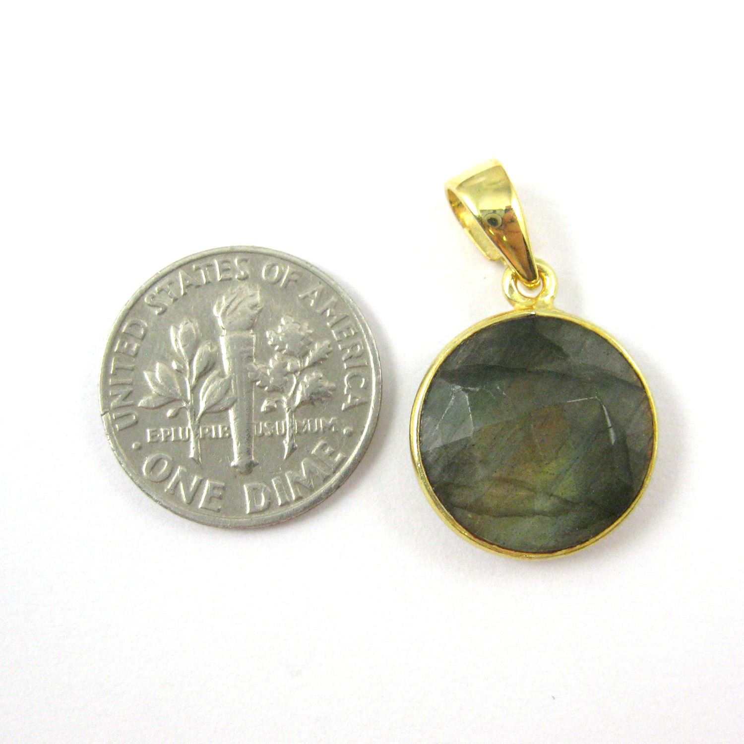 Bezel Gemstone Pendant with Bail - Gold plated Sterling Silver Round Gem Pendant - Ready for Necklace - 24mm- Labradorite