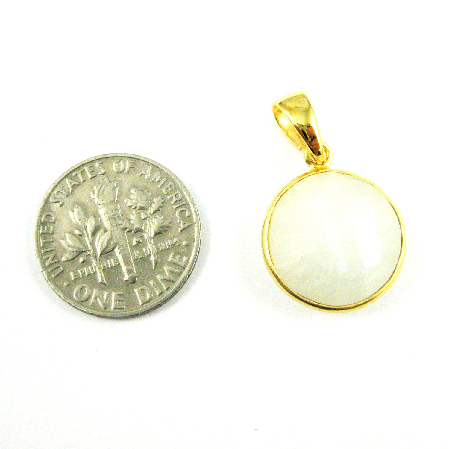 Bezel Gemstone Pendant with Bail - Gold plated Sterling Silver Round Gem Pendant - Ready for Necklace - 24mm- Moonstone