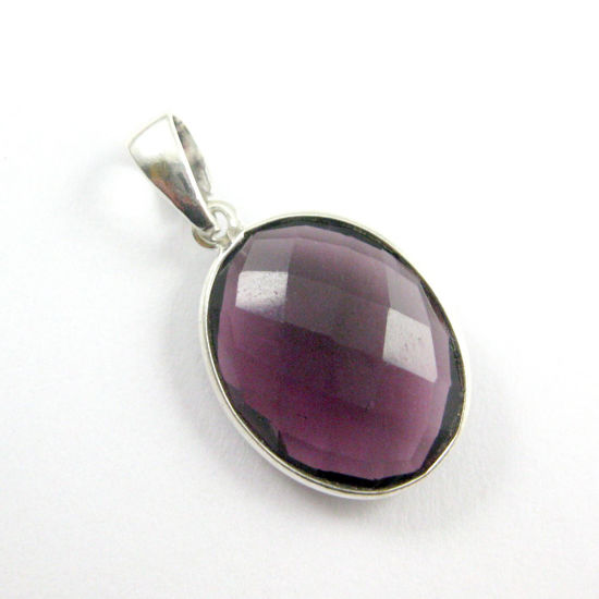 Bezel Gemstone Pendant with Bail - Sterling Silver Oval Gem Pendant - Ready for Necklace - 28mm - Amethyst Quartz