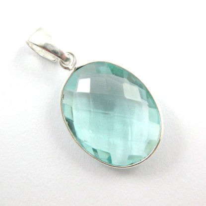 Bezel Gemstone Pendant with Bail - Sterling Silver Oval Gem Pendant - Ready for Necklace - 28mm - Aqua Quartz