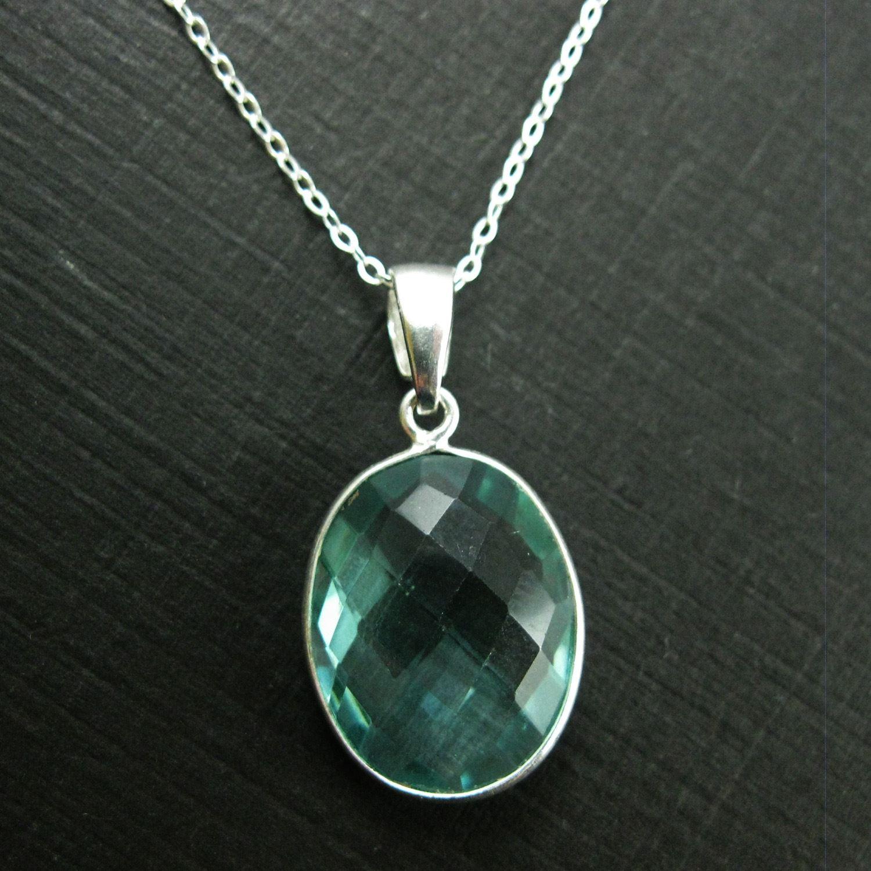 Bezel Gemstone Pendant with Bail - Sterling Silver Oval Gem Pendant - Ready for Necklace - 28mm - Aqua Quartz