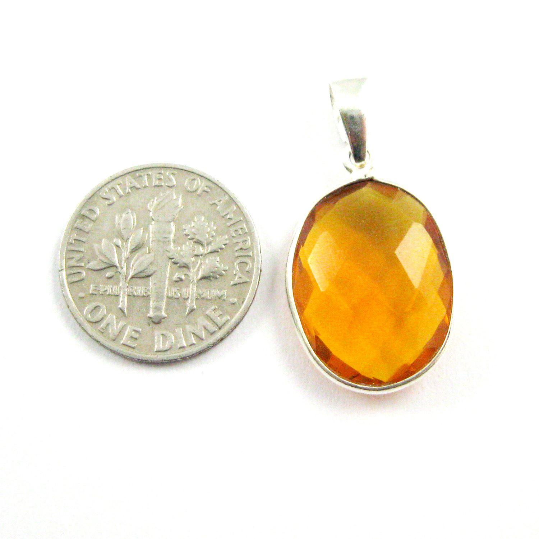 Bezel Gemstone Pendant with Bail - Sterling Silver Oval Gem Pendant - Ready for Necklace - 28mm - Citrine Quartz