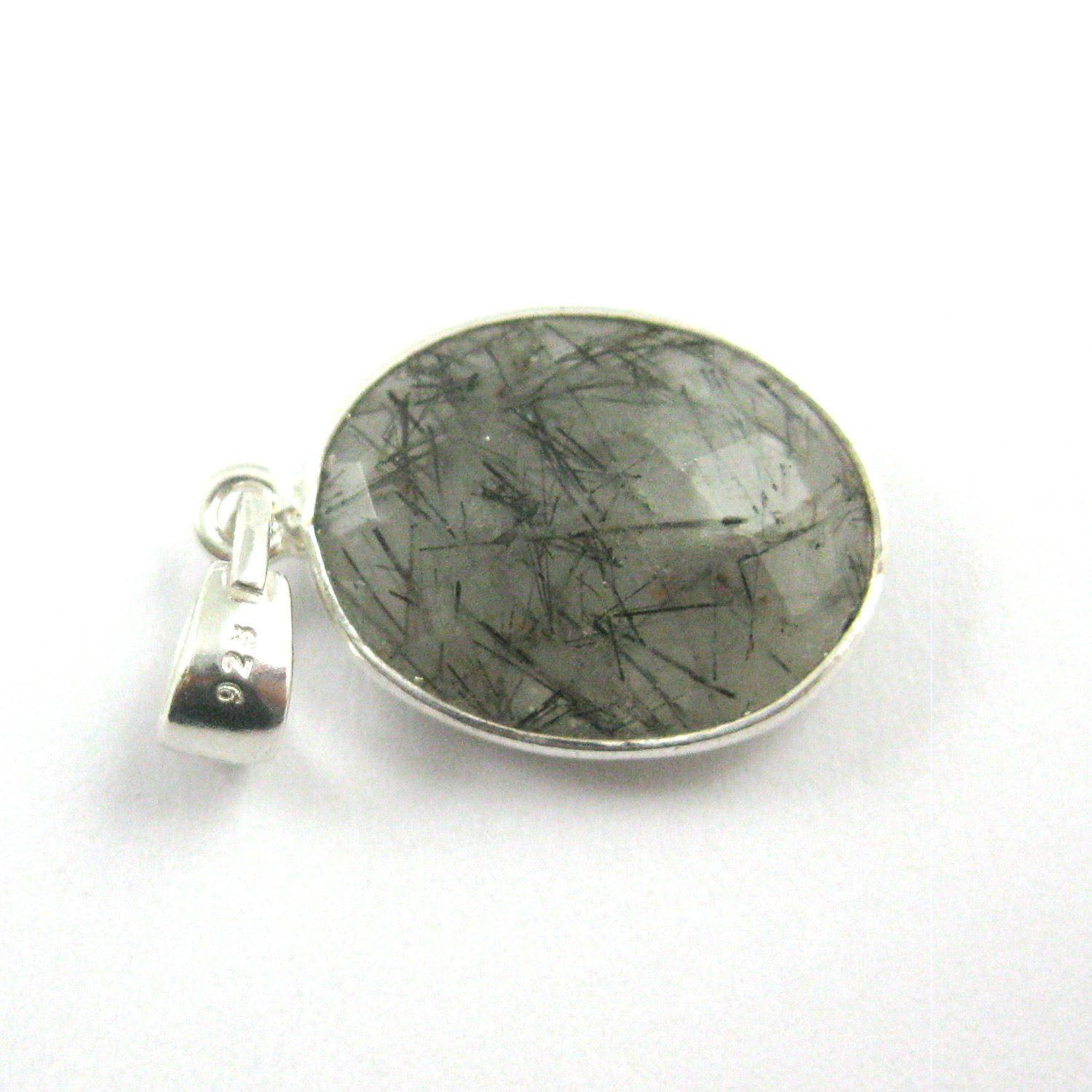Bezel Gemstone Pendant with Bail - Sterling Silver Oval Gem Pendant - Ready for Necklace - 28mm - Black Rutilated Quartz